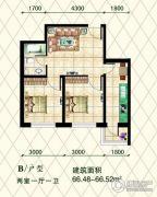 中大帝景2室1厅1卫66平方米户型图
