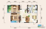 清风华园2室2厅1卫86平方米户型图