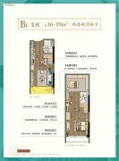 恒威海上花院跃公馆2室2厅2卫36--39平方米户型图