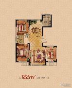 润天观湖国际3室2厅1卫122平方米户型图
