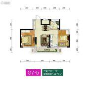 新加坡花园2室2厅1卫75平方米户型图