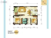 龙湖源著2室2厅1卫66平方米户型图