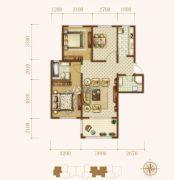 龙城帝景2室2厅1卫88平方米户型图