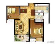 九龙仓时代上城2室2厅1卫91平方米户型图