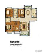 福园小区4室2厅2卫176平方米户型图