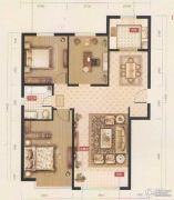 禧福 荷堂3室2厅1卫105平方米户型图