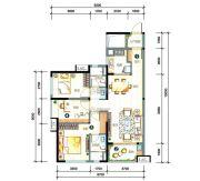 万科柏悦湾3室2厅1卫104平方米户型图