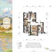 碧桂园莫奈的湖3室2厅1卫105--110平方米户型图