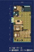 米兰国际3室1厅1卫114平方米户型图