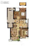 鸿�Z园3室2厅2卫91平方米户型图