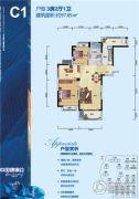 武汉中国健康谷3室2厅1卫97平方米户型图