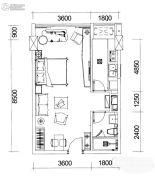 巴登巴登国际温泉养生公寓1室1厅1卫50平方米户型图
