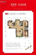 百步亭长青壹号3室2厅2卫115--116平方米户型图