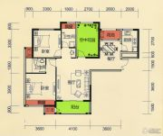 天麟・时代经典2室2厅2卫106平方米户型图