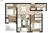 上海公馆旗舰版2室2厅1卫88平方米户型图