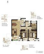绿都悦府3室2厅1卫87平方米户型图