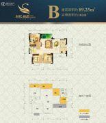 时代尚品2室2厅1卫89平方米户型图
