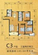 嘉禾一方3室2厅2卫145平方米户型图
