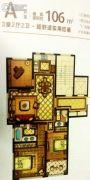 新湖广场3室2厅2卫106平方米户型图
