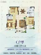 红星国际广场3室2厅2卫124--126平方米户型图