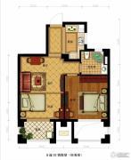 金都夏宫2室2厅1卫59平方米户型图
