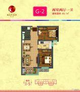同美生活区2室2厅1卫85平方米户型图