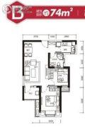 保利上城2室2厅1卫74平方米户型图