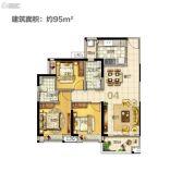 美的・花湾城3室2厅2卫95平方米户型图