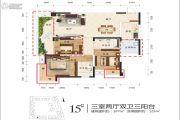 江岸国际3室2厅2卫107平方米户型图
