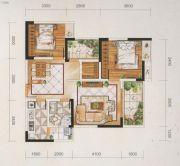 名爵世家2室2厅1卫91平方米户型图