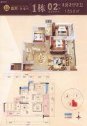 汇展华城3室2厅2卫126平方米户型图