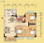 翰林国际3室2厅1卫96平方米户型图