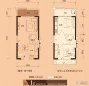 万汇广场2室2厅2卫42平方米户型图