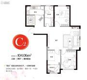 香缇熙岸3室2厅1卫104平方米户型图