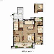 雅居乐万科中央公园3室2厅2卫130平方米户型图