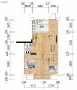 麓山枫情2室2厅1卫44平方米户型图