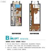 萝岗奥园广场3室2厅2卫48平方米户型图