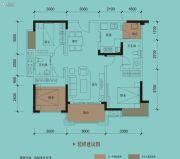 保利国际城翡丽湾3室2厅2卫95平方米户型图