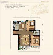 天元蓝城2室2厅1卫91平方米户型图