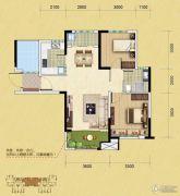 中铁逸都2室2厅1卫86平方米户型图