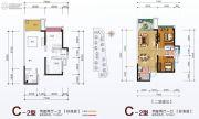 中融大名城2室2厅1卫72平方米户型图