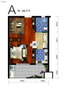 云澜湾1室2厅1卫46平方米户型图