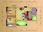 德源第一城2室2厅1卫66平方米户型图