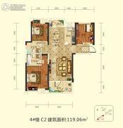 前川欣城二期3室2厅2卫119平方米户型图