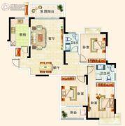 梓山豪苑3室2厅2卫136平方米户型图