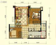 领地海纳时代2室2厅1卫61平方米户型图