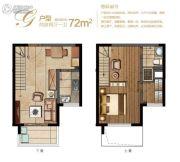 堰湾长堤2室2厅1卫72平方米户型图