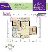 帕佳图・尚品2室2厅1卫65平方米户型图