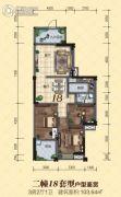 龙光・尚悦轩3室2厅1卫103平方米户型图