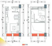 港宏世家1室2厅1卫45平方米户型图